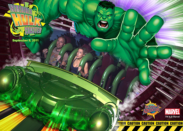 Andy and his wife on the Hulk rollercoaster.
